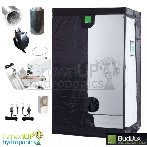 BudBox Pro White Complete Grow Kit - 600w Light. 125mm Fan and Filter