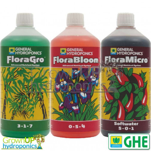 GHE Triple Pack-FloraGro-Bloom-Micro-500ml, 1, 5 or 10 Litres-Hydroponics  Nutrient kit