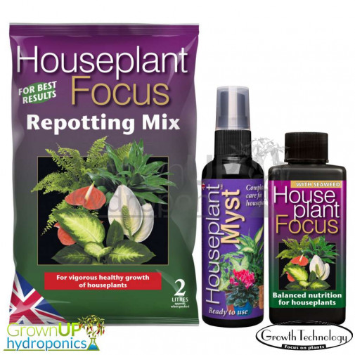 House Plant Focus Range - Repotting Mix, Myst or Focus Nutrients