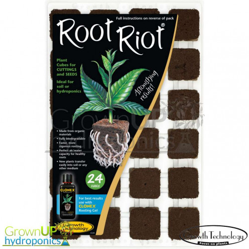 Root Riot Tray of 24 - Seed, Cutting or Clone starting media - Hydroponics Propagation