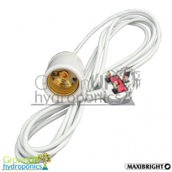 CFL Hanger with E40 connector - 4 metre cable and 3 pin plug - Hydroponics Lighting