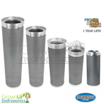 Phresh Skinny Filters - Premium 4/8 Carbon -1 Year Life - Hydroponics Grow Room Extraction